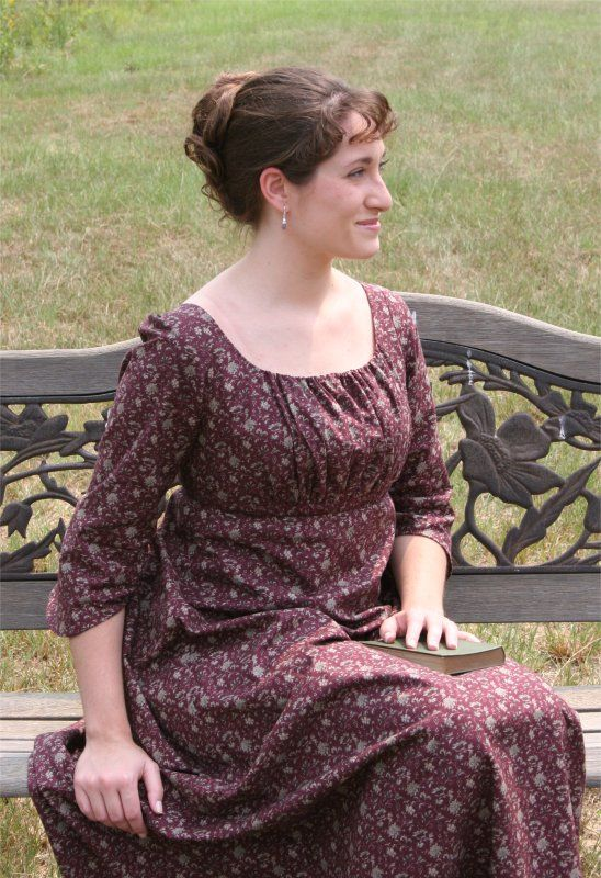 This website has patterns for dresses of the 1800s... I like this one the best. :)