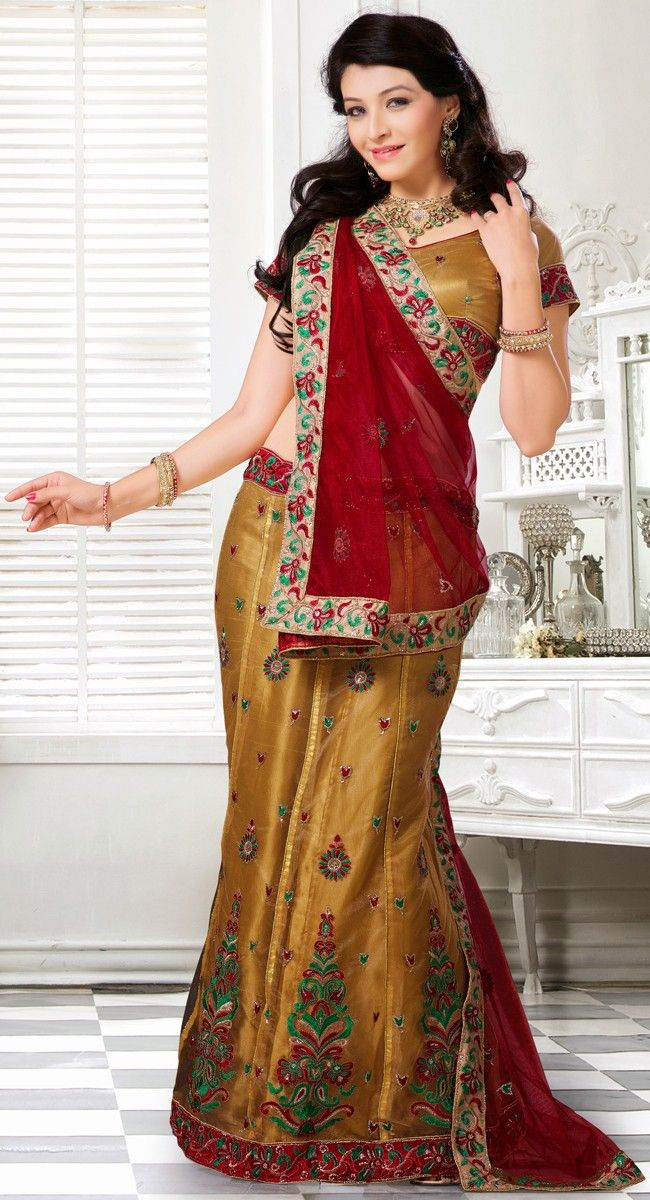Alluring Gold Color Net #Lehenga Choli