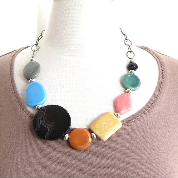 Colorful ceramic bead necklace and chain. HALF by planettreasures