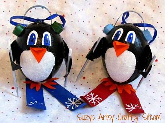 Skiing Penguin Ornaments Tutorial | Made from a blown egg, toilet paper tube and paint