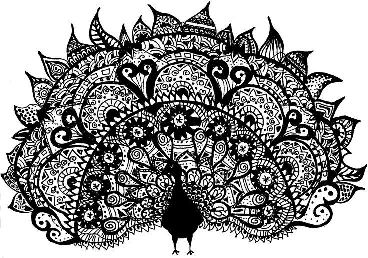 self-drawn zentangle peacock, lujzarvai
