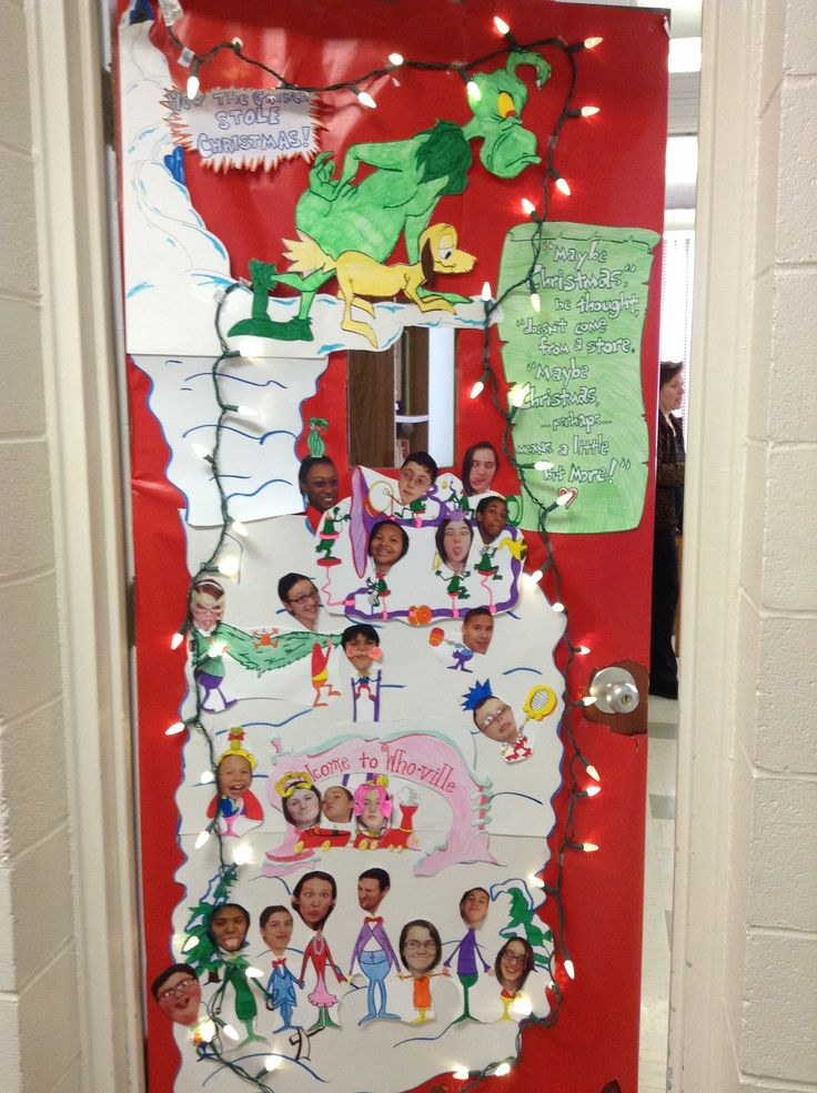 Classroom Christmas Design ~ The grinch classroom door decor pinterest