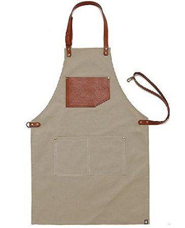 Livraison gratuite de cadeau pour femme et homme chef Works Tablier fait main japonais Croix arrière-Tablier toile Corde en cuir marron clair
