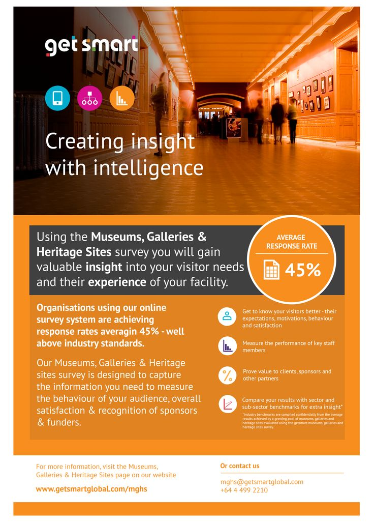 Using the Museums, Galleries & Heritage Sites survey, you will gain valuable insight into your visitor needs and their experience at your facility.