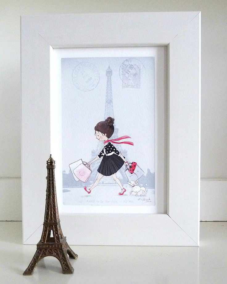 Girl in Paris Wall Art - Little Girl Room Decor - Girl Shopping in Paris by KristyZink on Etsy