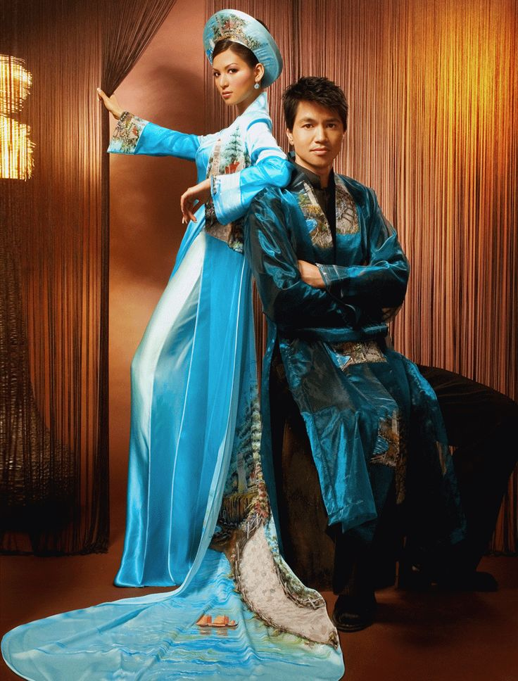 beautiful blue and turquoise couples ao dai vietnamese