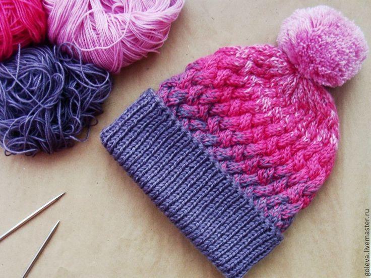 Купить Шапка вязаная спицами с переходом цвета, шапка спицами, вязаная шапка - разноцветный, шапка