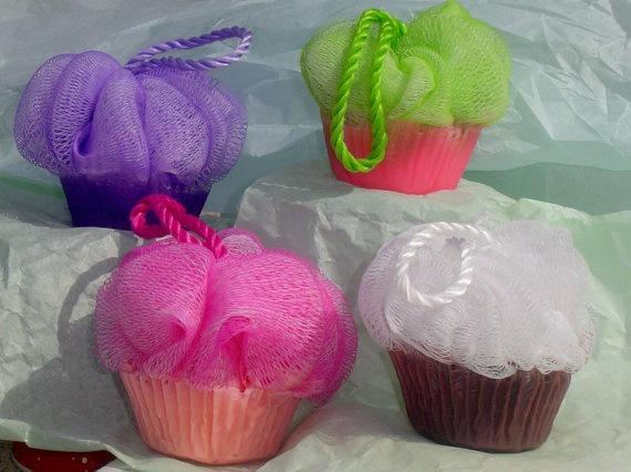 Handmade Glycerin Poof Scrubby Soap Cupcake Soaps by JosiesAttic, $3.99
