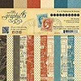 Graphic 45-Graphic 45-Blocco di carta decorata su entrambi i lati, 6 x 6 cm, 3 Cityscapes, stampe e solidi, diversi, multicolore