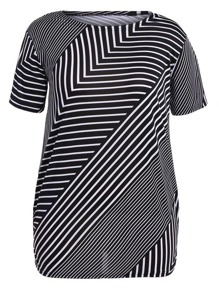 Skew Striped Plus Size T-Shirt #jewelry, #women, #men, #hats, #watches, #belts