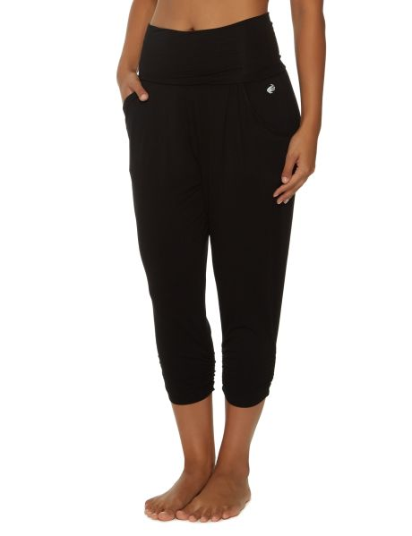 A pair of 7/8 length relaxed fitting pants.