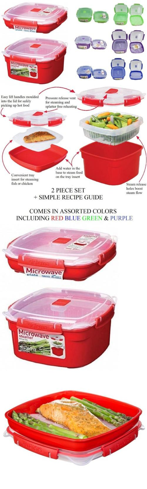 Microwave Cooking Gadgets 20633: Sistema 2 Piece Medium Microwave Steamer  And Plate Set With A