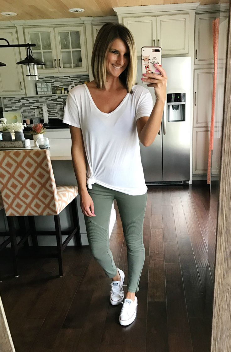Olive moto leggings - so comfortable and the perfect look for running errands and baseball games! Perfect with Converse sneakers! Click on the photo for all of the links to shop!