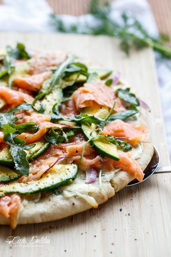 Smoked Salmon and Avocado Pizza   http://cafedelites.com