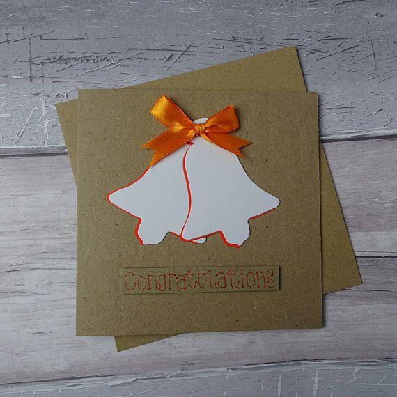 Wedding congratulations card Handmade wedding bells card