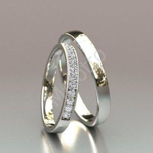 Тонкие обручальные кольца с бриллиантами 33500 руб. Пара