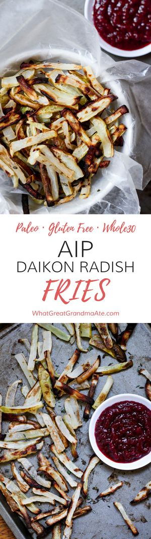Paleo Gluten Free Whole30 AIP Daikon Radish Fries