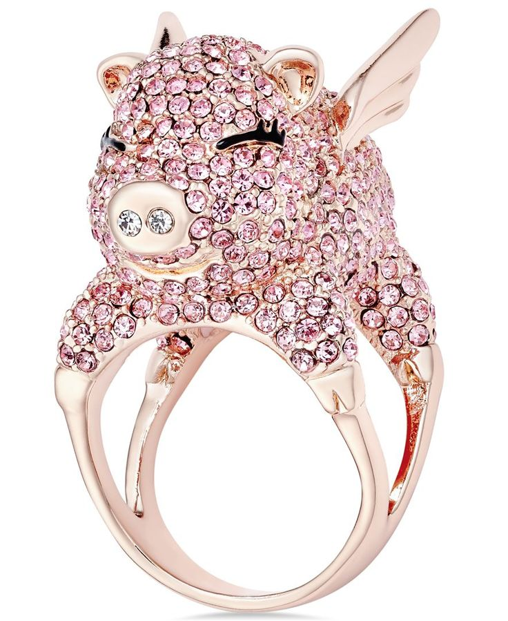 kate spade new york Wild Imagination Gold-Tone Crystal Flying Pig Ring
