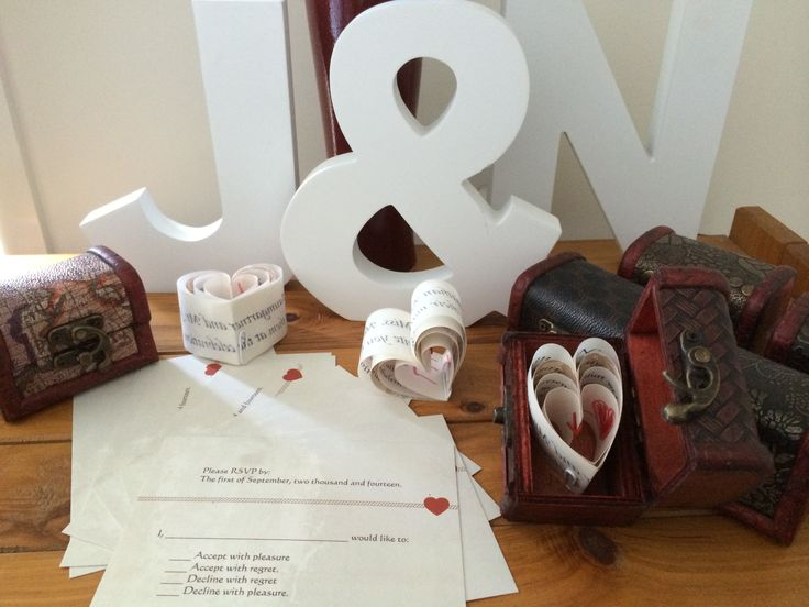Home made invites. Four layered heart in a treasure chest.