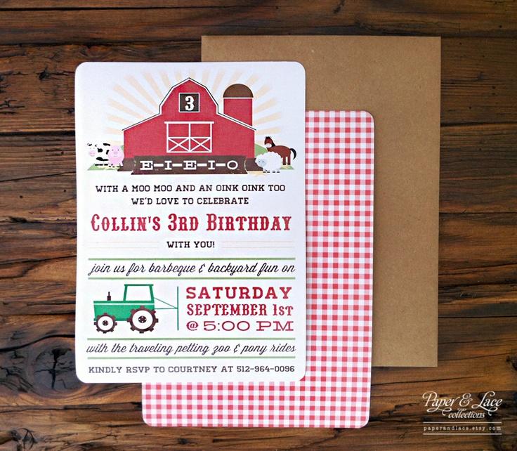 Farm Birthday Party Invitations. $68.00, via Etsy.