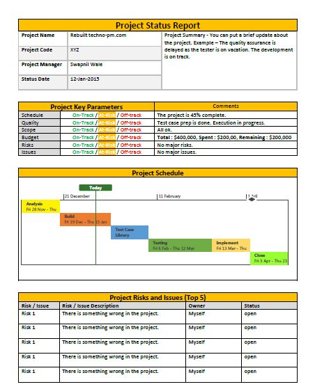 Project Status Report Template Project Status Report