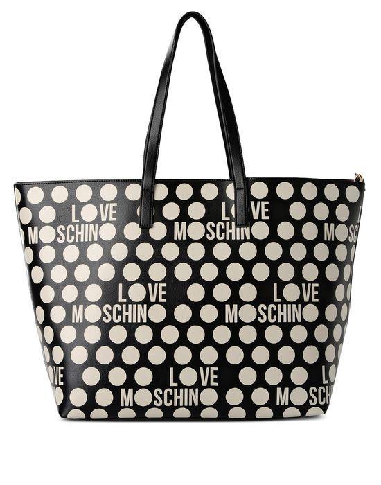 Borsa Shopper a doppio manico con stampa a Pois e logo Love Moschino, con accessori interni tra cui una tracollina e un piccolo portamonete.
