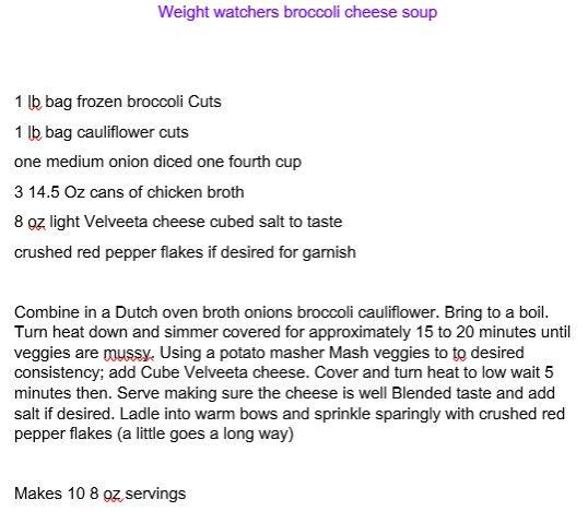 Weight Watchers Broc Cheese Soup