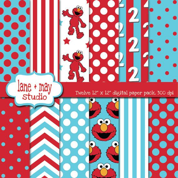 elmo red and blue digital scrapbook papers by laneandmay on Etsy, $7.50