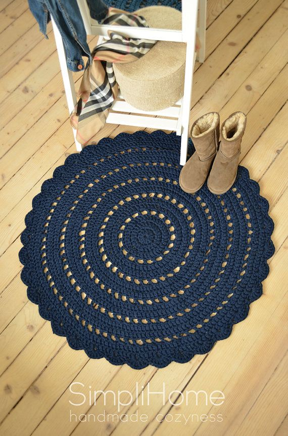 large petrol crochet rug cotton rug doily by simplihomedecor