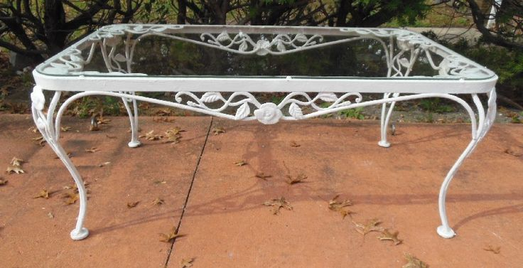 Coffee Table Woodard Chantilly Rose Vintage Wrought Iron