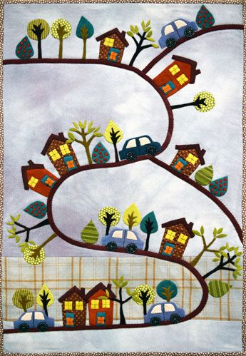Tootin' Along quilt kit by Sue Spargo. Wool applique.