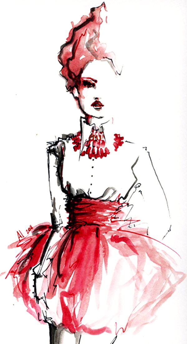 Fashion illustration - red & black ink, jewelry drawing, dress sketch