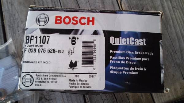 Bosch BP1107 front brake pads for Volkswagen Jetta/Golf, Audi – auto parts – by owner