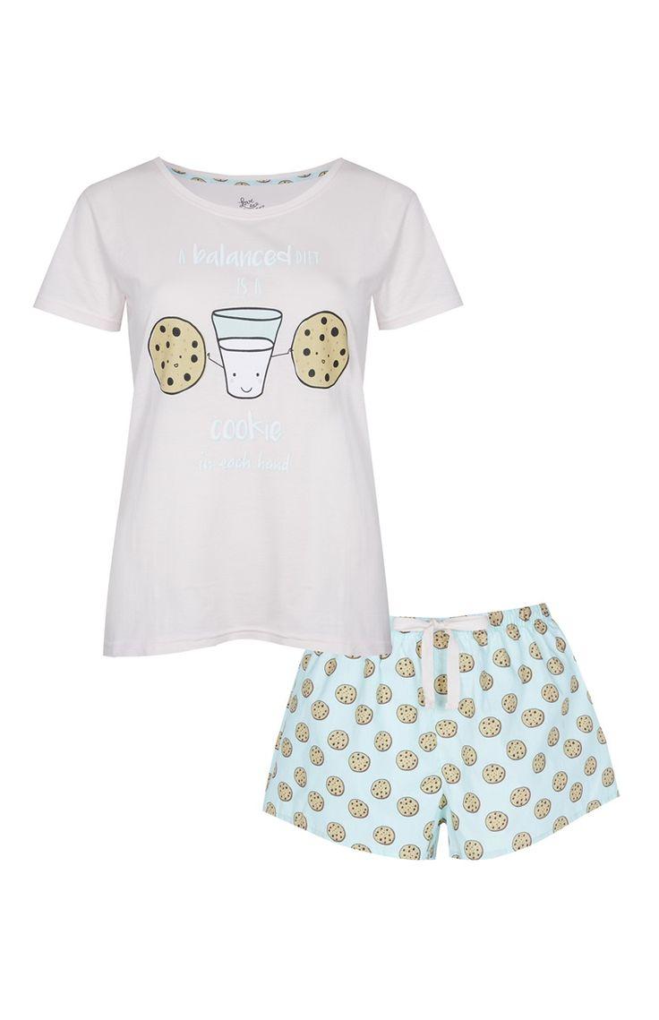 Primark - Pyjama short bleu à imprimé cookie
