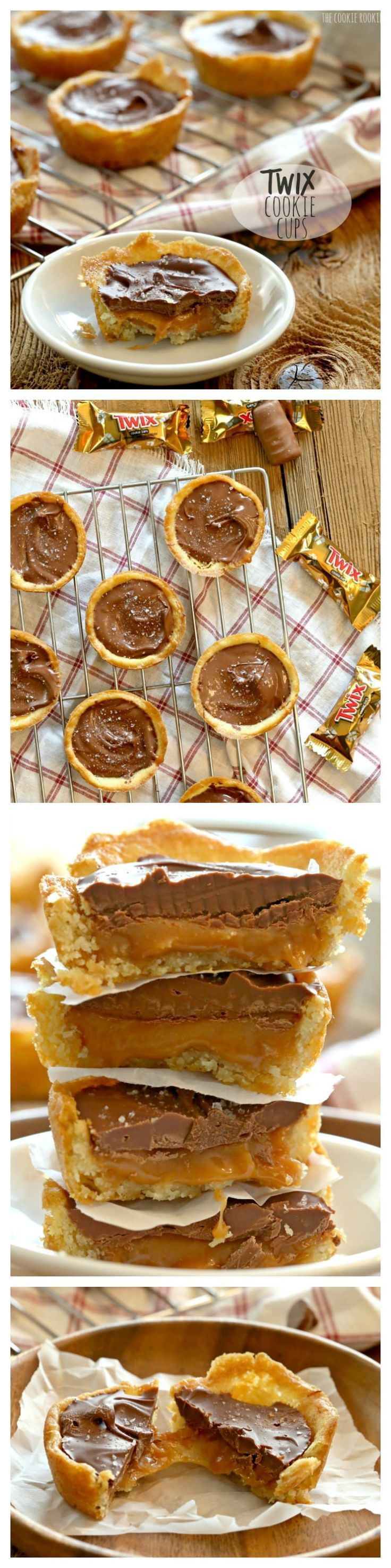 Twix Cookie Cups. AMAZING. Sugar Cookie Crust, salted caramel center, and topped with milk chocolate. BEST COOKIE RECIPE EVER! | The Cookie Rookie