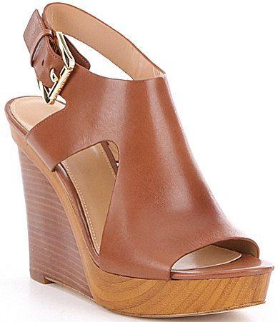 MICHAEL Michael Kors Josephine Leather Side Cutout Peep Toe Wedges #Dillards