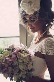 lace and flowers. love the head piece