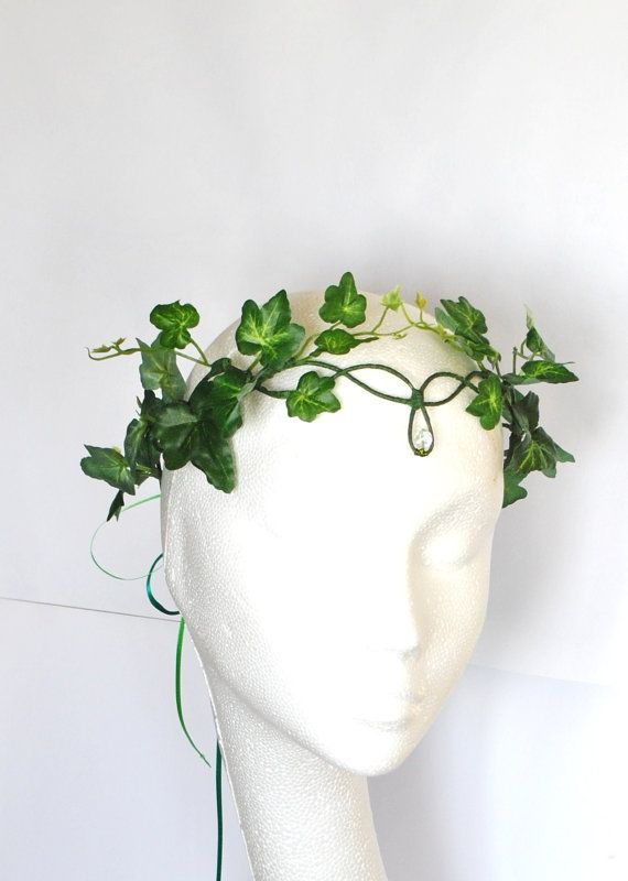 Poison ivy halo crown whimsical woodland green fairy crown