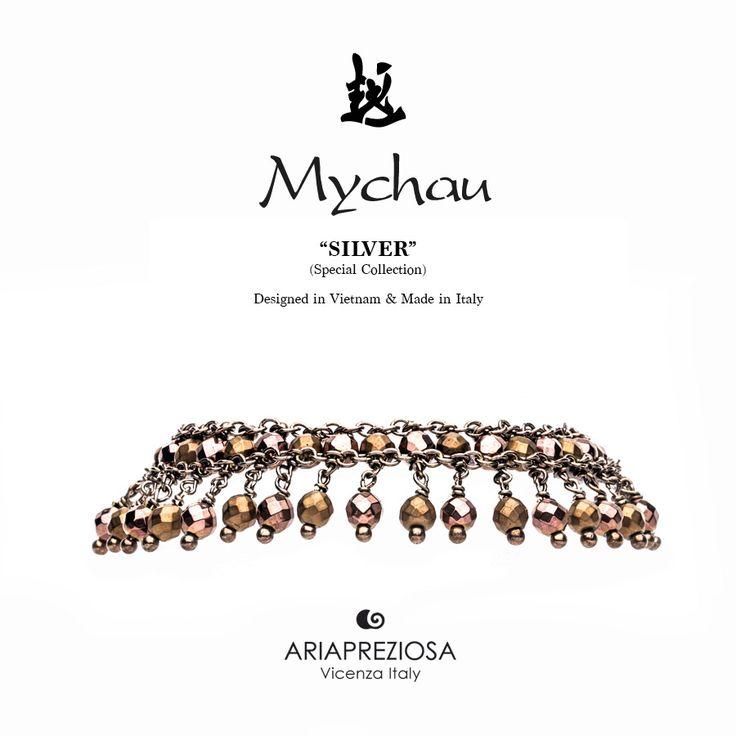 Mychau Silver - Bracciale realizzato in Argento 925‰ (galvanica chocolate) e pietre naturali Ematite Placcata Bronzo