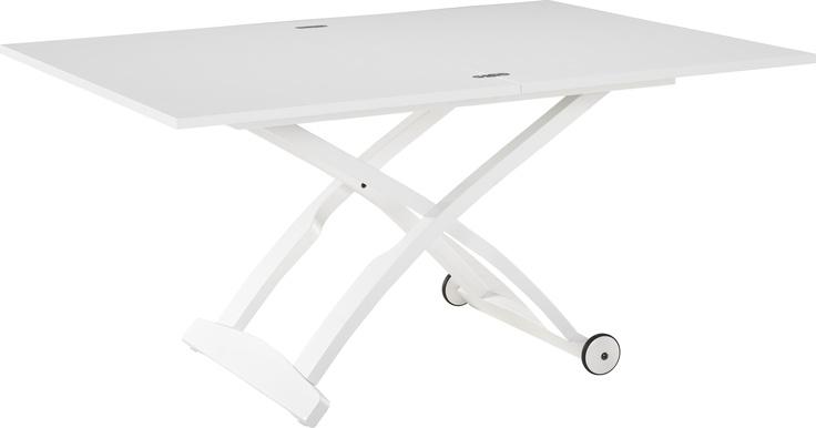 Allessio kan enkelt gjøres om fra sofabord til spisebord. Fåes i valnøtt og hvitt. Dimensjoner: D70 x (laveste)H32,5 x L105 cm, oppreist og utslått: L140 x H74 x D105 cm. Kr. 8500,-
