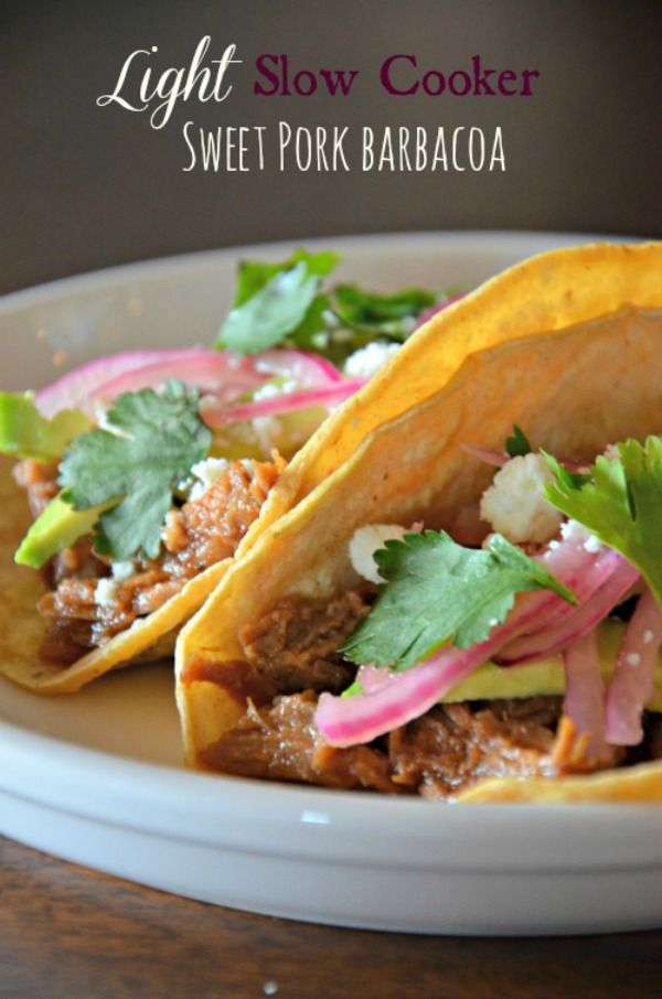 Lightened Up Slow Cooker Sweet Pork Tacos   moutntainmamacooks.com