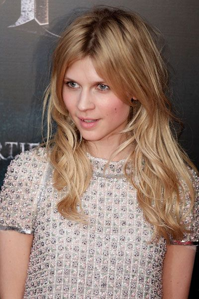 "Clemence Poesy. Nice hair color and ""undone"" style."