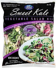 "Eat Smart Vegetable Salad Kit - my new favorite salad.  Available from Costco & Smart & Final, maybe elsewhere. Slivered Broccoli, sliced Brussel Sprouts, Red Cabbage, Kale, Chicory, Dried Cranberries, Roasted Pumpkin Seeds, and Poppyseed Dressing. Even better when chopped apple and feta are added! Once I added sliced strawberries and blueberries. SO GOOD How can you go wrong with ""7 Superfoods""?"