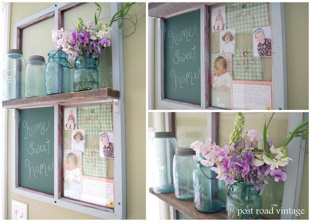 This window pane transformed into a photo collage, shelf, and message station:   16 Totally Doable DIY Projects That All Solve More Than One Problem