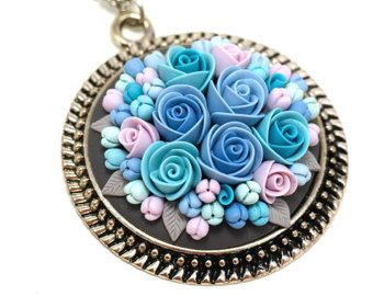 Floral pendant necklace Polymer Clay Pendant Necklace Polymer