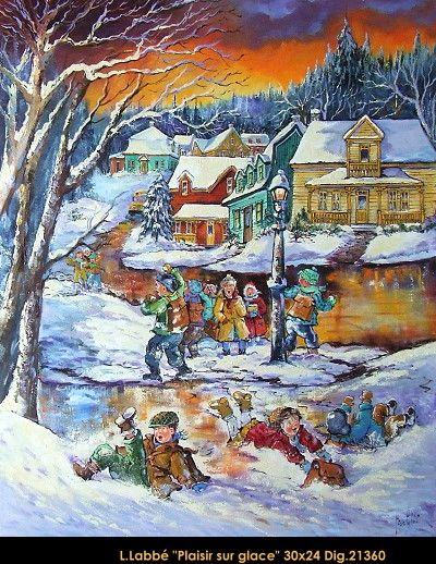 Original oil on canvas painting by Lise Labbé #labbe #art #artnaif #fineart #figurativeart #kidscharacters #winter #play #canadianartist #quebecartist #originalpainting #oilpainting #balcondart #multiartltee