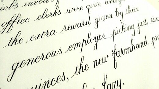 Exercise with minuscules in Copperplate: after a while calligraphy  gets so relaxing!