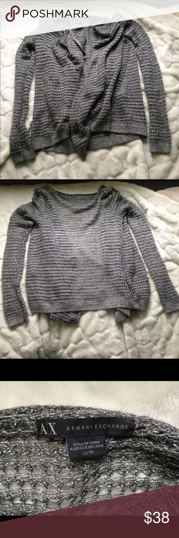 Armani Exchange Grey Wrap Knit Cardigan Size XS Armani Exchange Women's Grey Open Front Wrap Cardigan. Grey Sparkly Cotton Blend Knit, Size Extra Small. Looks Fab Paired With Spring Dresses! Excellent Condition. Armani Exchange Sweaters Cardigans