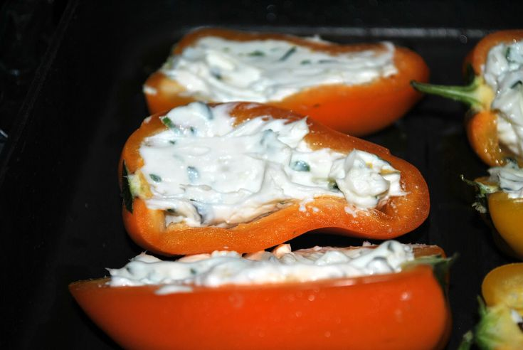 my kaotic kitchen: roasted/grilled cream cheese stuffed mini bell peppers..