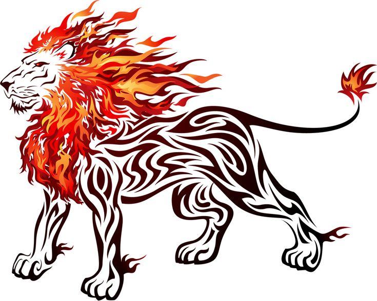 雄々しいライオンの炎のイラストのアイデア